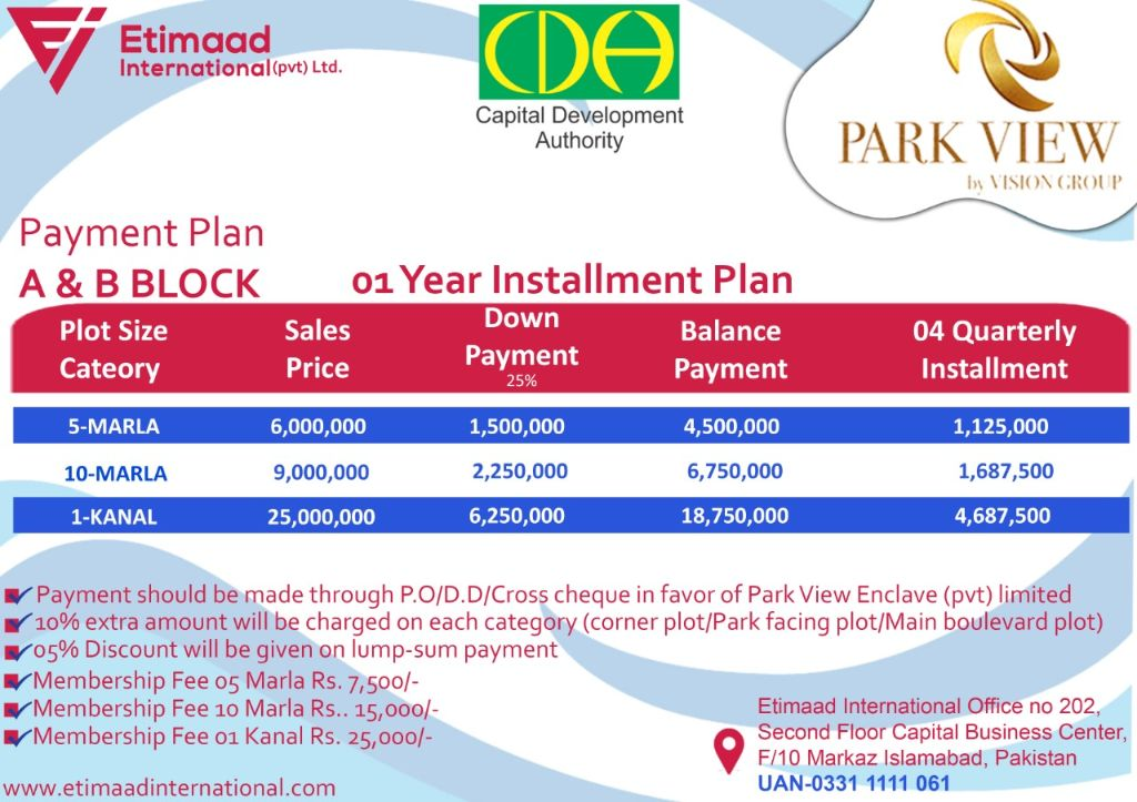 Payment Plan A and B block Park View City Islamabad