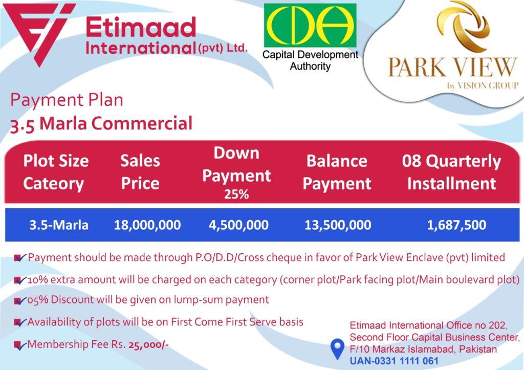 Payment Plan Park View City Commercial Block: