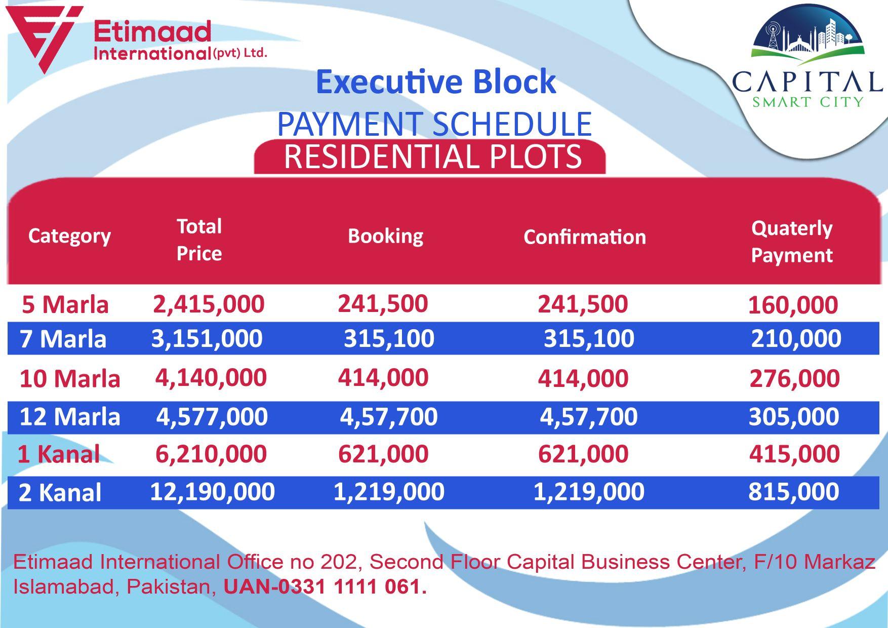 Payment Plan Executive Block Capital Smart City