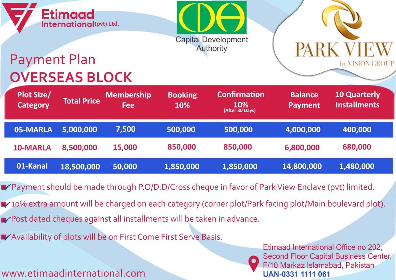 Payment Plan Park View City Overseas Block