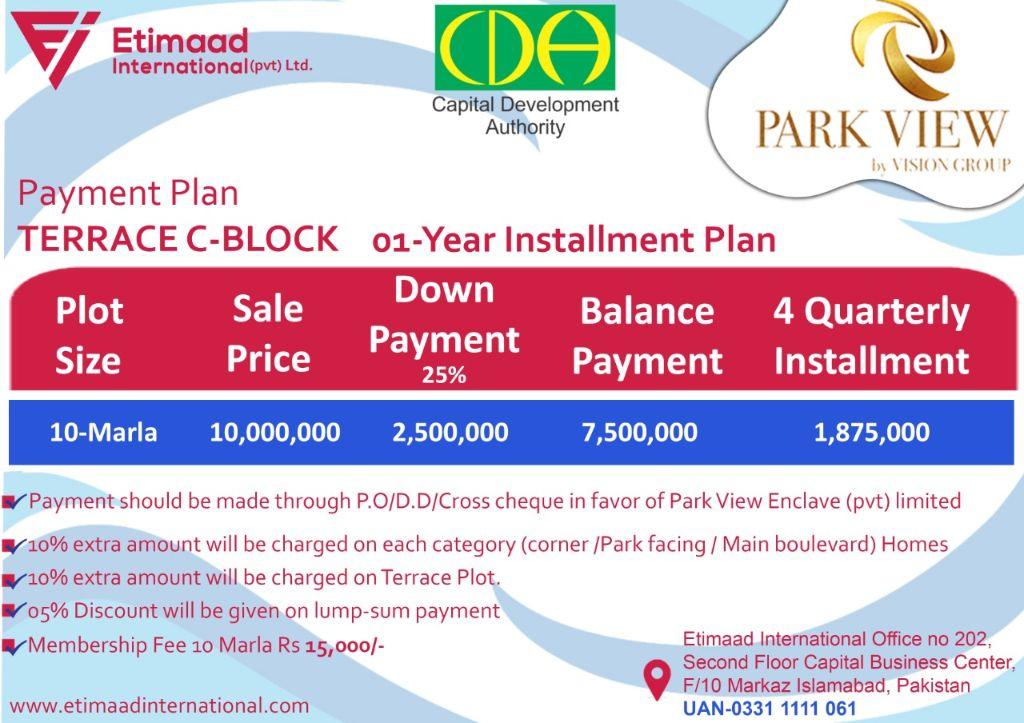 Payment Plan Terrace Block Park View City
