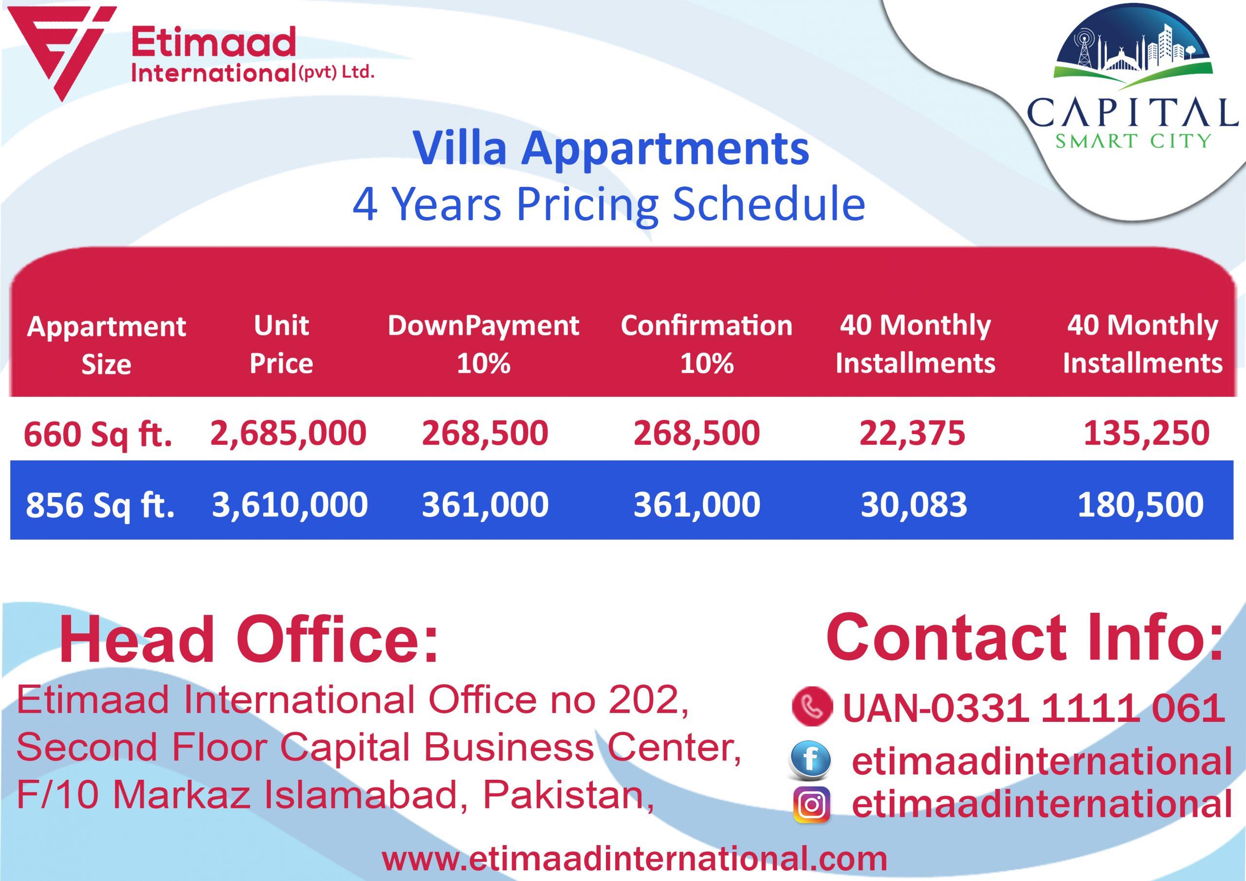 Payment Plan Villa Appartments Capital Smart City